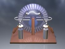 Wimshurst machine with two Leyden jars. 3D illustration of electrostatic generator. Physics. Science classrooms experiment. Demonstration of a scientific Royalty Free Stock Photography
