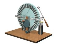Wimshurst machine with two Leyden jars. 3D illustration of electrostatic generator. Physics. Science classrooms experiment. 3D illustration isolated on a white Stock Photo