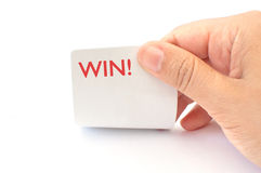Win!. Playing cards reveal the word win Royalty Free Stock Images