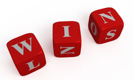 WIN. Three red isolated dice. Abstract Stock Images