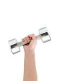 Win!. A hand holding a dumbbell up Stock Images