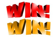 Win 3D Red And Gold. Royalty Free Stock Photo