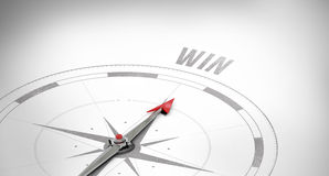 Win against compass arrow. The word win against compass Royalty Free Stock Photos