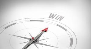 Win against compass arrow Royalty Free Stock Photos