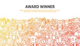 Win Award Concept. Vector Illustration of Line Web Design. Banner Template royalty free illustration