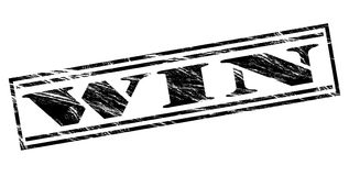 Win black stamp. Isolated on white background Stock Image