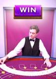 Win button and croupier shuffling cards. Digital composite of Win button and croupier shuffling cards stock photos