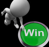 Win Button Shows Victory Or First Place Stock Image