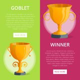 Win celebration banners with golden cups. First place victory prize, winner congratulation event vector illustration. Success and leadership, championship Stock Photo