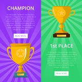 Win celebration banners with golden goblets. First place victory prize, winner congratulation event vector illustration. Success and leadership, championship Stock Image