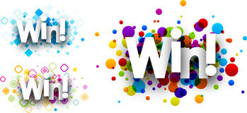 Win colour banners. Stock Photos