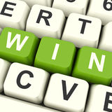 Win Computer Keys Representing Success And Victory Stock Image