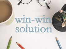 Win-Win Concept van Oplossingswoorden royalty-vrije stock foto's