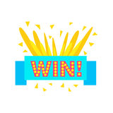 Win Congratulations Sticker With Blue Ribbon Design Template For Video Game Winning Finale. Graphic Flat Vector Message With Text Saying Win! Congrats And Stock Photography