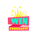 Win Congratulations Sticker Design Template For Video Game Winning Finale With Fireworks. Graphic Flat Vector Message With Text Saying Win! Congrats And Royalty Free Stock Images