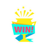 Win Congratulations Sticker With Golden Cup Design Template For Video Game Winning Finale. Graphic Flat Vector Message With Text Saying Win! Congrats And Royalty Free Stock Image