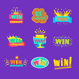 Win Congratulations Stickers Assortment Of Comic Designs For Video Game Winning Finale. Set Of Graphic Flat Vector Messages With Text Saying Win Congrats And Royalty Free Stock Photography