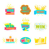 Win Congratulations Stickers Collection Of Comic Designs For Video Game Winning Finale. Set Of Graphic Flat Vector Messages With Text Saying Win! Congrats And Royalty Free Stock Image