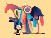 Win in equestrian sport. Horse race animal, horseback and prize, vector illustration Royalty Free Stock Photography