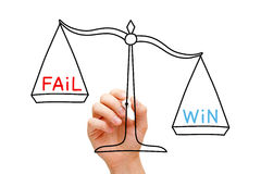 Win Fail Scale Concept. Hand drawing Win Fail scale concept with marker on transparent wipe board on white royalty free stock photo