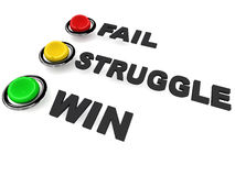 Win fail or struggle. Choice to either win fail or struggle with suitably colored lights, showing choice one can make in life stock illustration