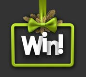 Win festive card with green bow. Grey win festive sign with green satin bow. Vector illustration Stock Photos