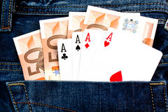 Win four 50 euro Banknotes with poker game Stock Images