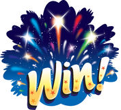 Win! Fun graphic firework celebration icon design Stock Photo