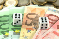 Win and get your money. Win and get your euro money and coins Stock Image