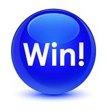 Win glassy blue round button. Win isolated on glassy blue round button abstract illustration Royalty Free Stock Photo