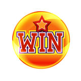 Win. Gold button with star shape Stock Images