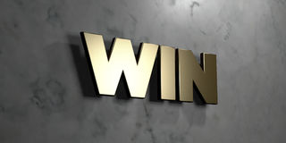 Win - Gold sign mounted on glossy marble wall  - 3D rendered royalty free stock illustration Stock Photo