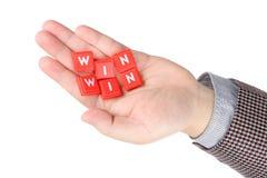 Win on hand Stock Image