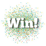 Win icon image. Win word icon over colorful dots and white background. vector illustration Stock Images