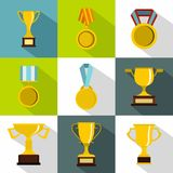 Win icons set, flat style Stock Photography