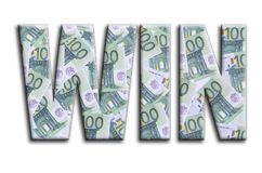 WIN. The inscription has a texture of the photography, which depicts a lot of 100 euro money bills.  stock photo