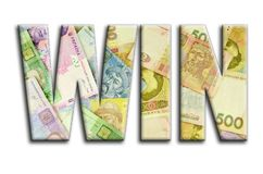 WIN. The inscription has a texture of the photography, which depicts a lot of ukrainian money bills.  stock photo