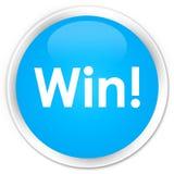 Win premium cyan blue round button. Win isolated on premium cyan blue round button abstract illustration Royalty Free Stock Photos