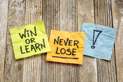 Win or learn, never loose reminder Royalty Free Stock Image