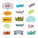 Win lettering text vector set winner with prize banner success winning competition illustration sign isolated on white. Background Stock Photos