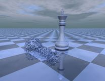Win loose abstract concept with chess king and chattered chess piece Royalty Free Stock Image