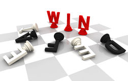 Win Lose Chess Game. 3D Font render Stock Images