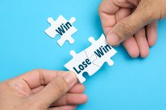 Win lose situation on white puzzle royalty free stock photos