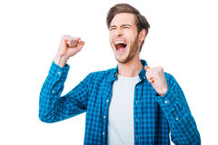 The win is in my pocket. Royalty Free Stock Photo
