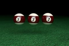 Win, Number Seven, Three Billiard Balls floating on air, on Gree. N Felt, 3d Rendering Stock Photography
