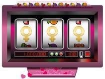 Win Partner Dream Girl Woman. Dream girl win with slot machine - symbol for having good fortune to find the dream women - slot machine jackpot with three female Stock Images
