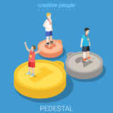 Win pedestal gold silver bronze medal flat isometric vector 3d Royalty Free Stock Image