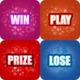 Win, Play, Prize, Lose Graphics. Layered  illustration of colourful competition graphics Royalty Free Stock Photos