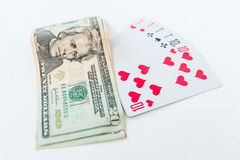 Win in poker. Tens and dollars Royalty Free Stock Photography