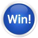 Win premium blue round button. Win isolated on premium blue round button abstract illustration Royalty Free Stock Images